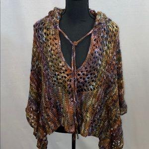 Express brand metallic rainbow crocheted poncho